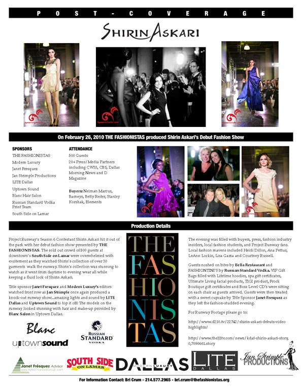 Shirin Askari Fashion Show - Press Release