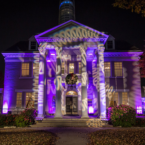 Belo exterior lighting pattern projection purple