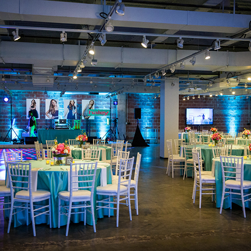 bat mitzvah uplights pin spots video screens av